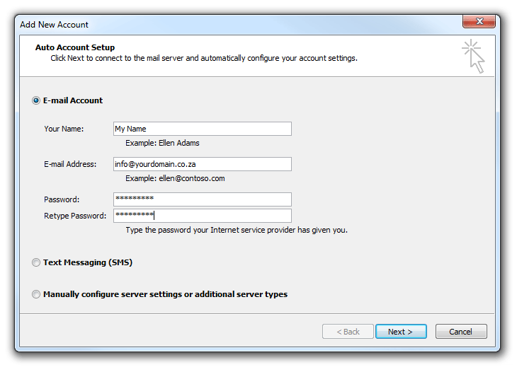 Auto Email Account Setup