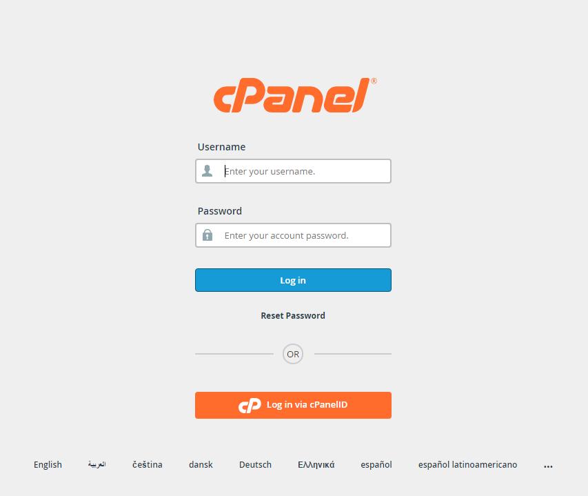 Log into cPanel