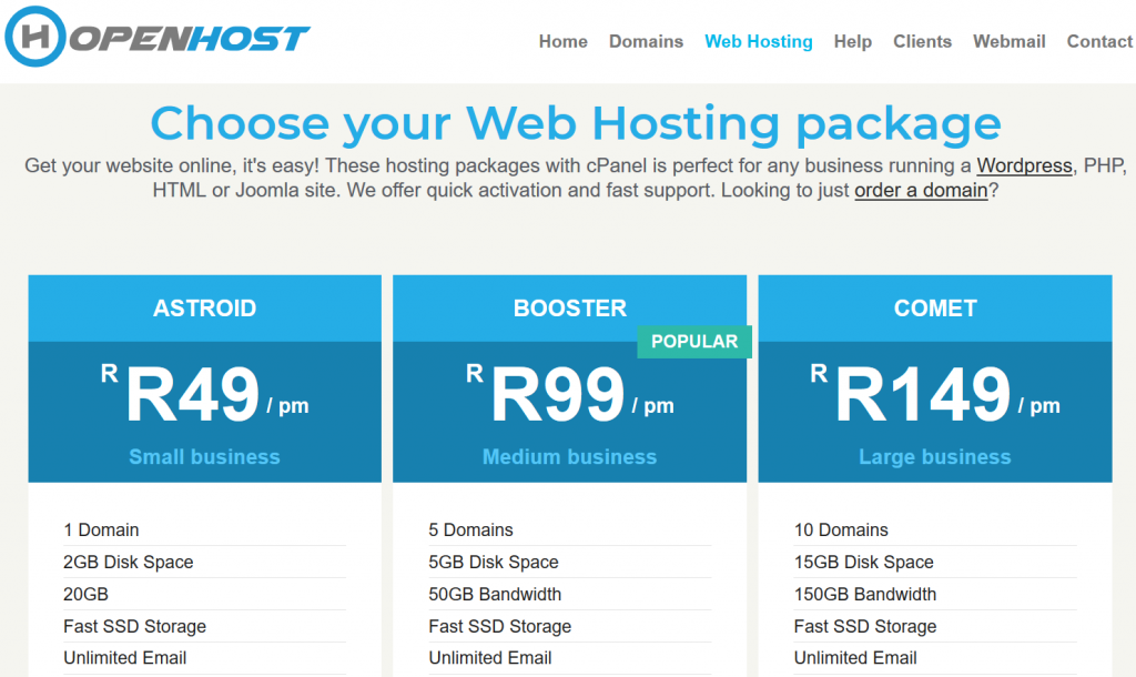 cPanel hosting packages